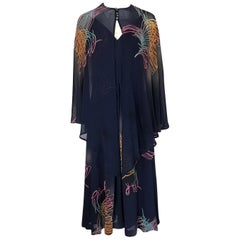 "Pauline Trigere Silk ""Fireworks"" Print Halter Dress and Cape, circa 1977"