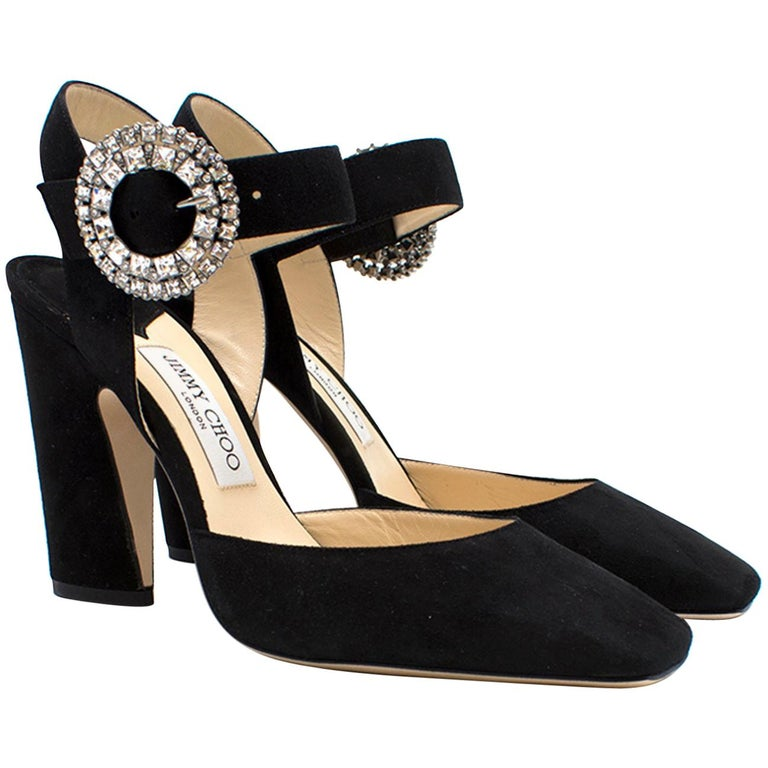 8609cae4519f Jimmy Choo Matilda 100 Black Suede Crystal Buckle Pumps For Sale at 1stdibs