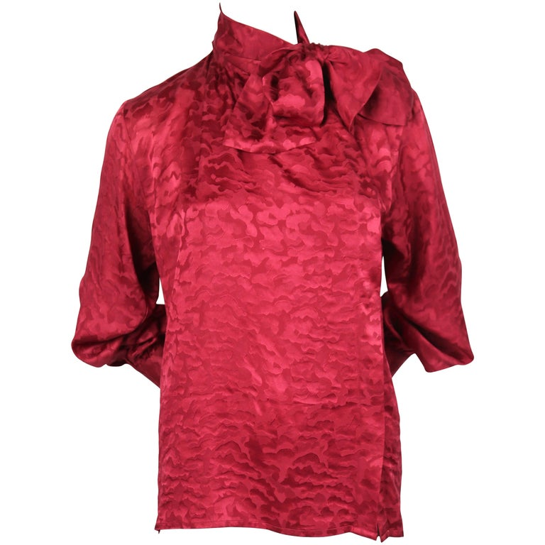 Saint Laurent burgundy silk top with pussy bow, 1980s
