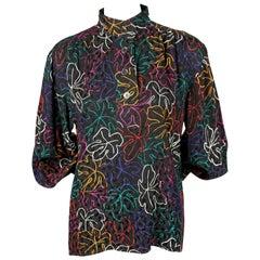 Yves Saint Laurent rive gauche silk top with vivid leaf motif, 1970s