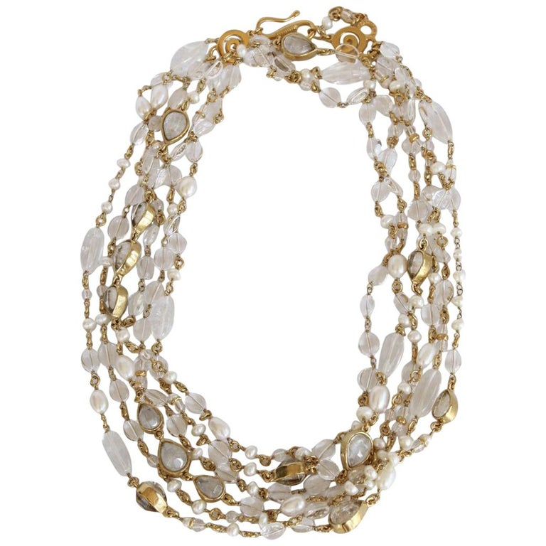 Goossens Paris Long Rock Crystal and Pearl Multi Strand Necklace For Sale