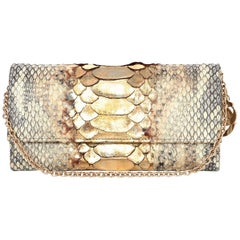 Christian Dior Gold Metallic Python Logo Charm Chain Wallet/Pochette Bag