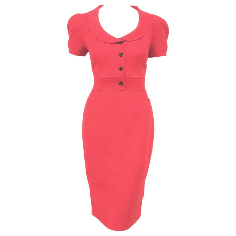 Fendi Red Linen Zig-Zag Open Stitching Dress For Sale