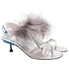 Prada Strap Feather Slingback Sandals