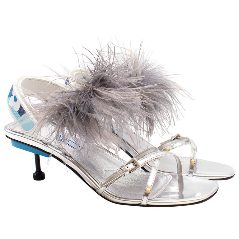 f4f6c92fa62 Prada Strap Feather Slingback Sandals For Sale at 1stdibs