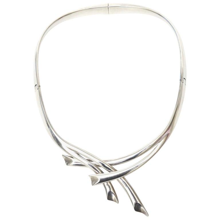 Sterling Silver Hallmarked Sigi Mid Century  Modern Sculptural Collar Necklace For Sale