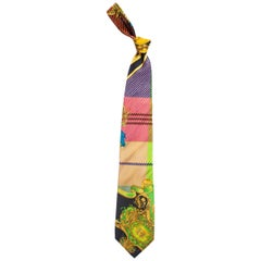 Early 1990s Gianni Versace Gold Baroque Plaid Printed Silk Tie
