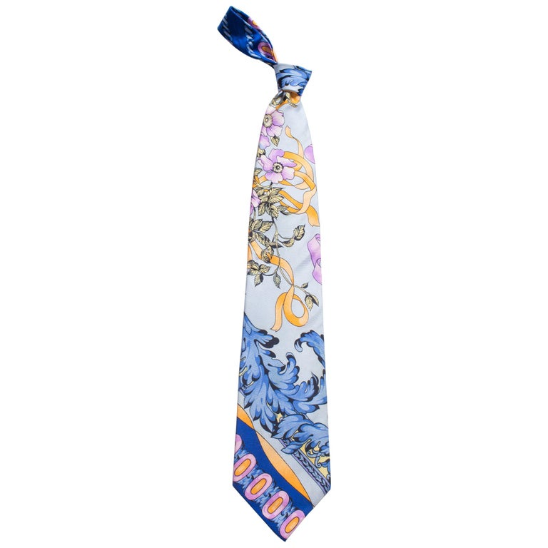 1990s Gianni Versace Pastel Baroque Gold, Blue & Purple Men's Silk Tie For Sale