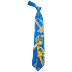 1990s Gianni Versace Bright Blue Mens Silk Tie With Gold Swords