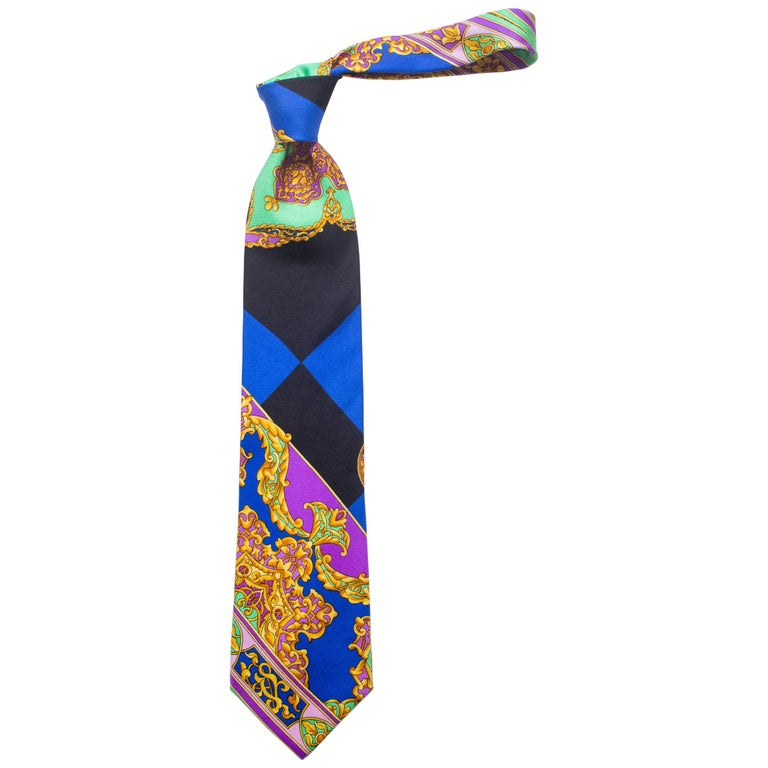 Early 1990s Gianni Versace Hand-Printed Gold Baroque Mens Tie For Sale
