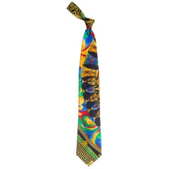 1990s Gianni Versace Greek Key and Vase Printed Silk Tie