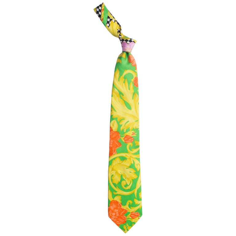 1990s Gianni Versace Orange, Gold & Lime Baroque Silk Tie For Sale