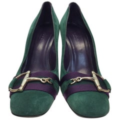 Gucci Green and Purple Suede Pump