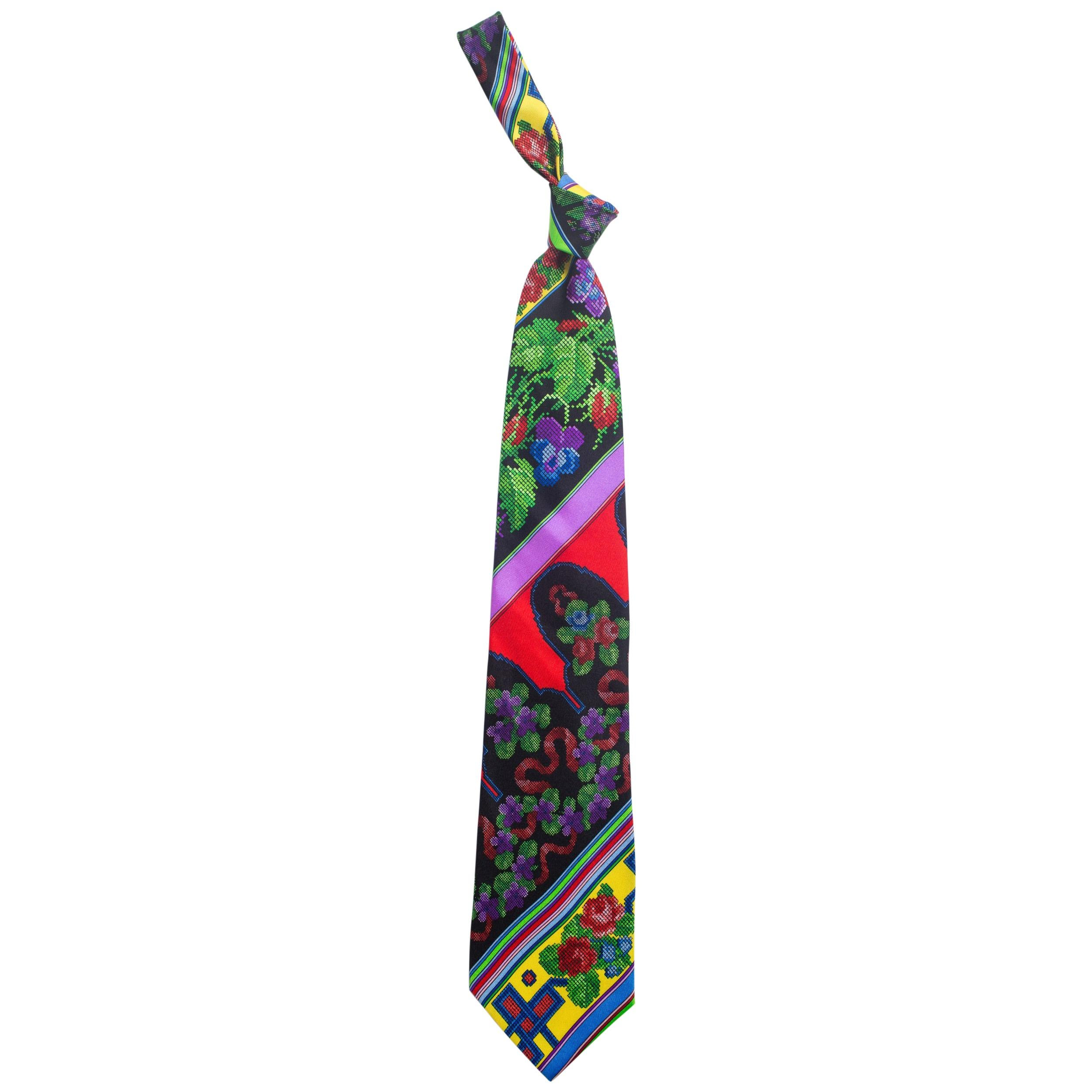1990S GIANNI VERSACE Chinese Floral Mens Silk Tie