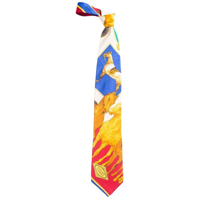 1990s Gianni Versace Atelier Equestrian Horse Print Mens Silk Tie For Sale