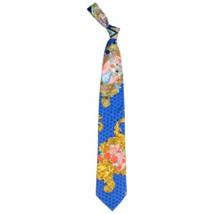1990s Gianni Versace Baroque Floral & Blue Dot Mens Silk Tie