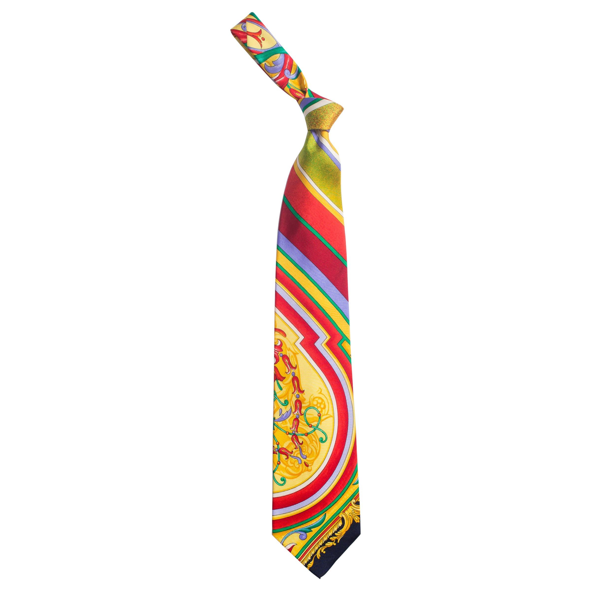 1990S GIANNI VERSACE Baroque Striped Silk Mens Tie