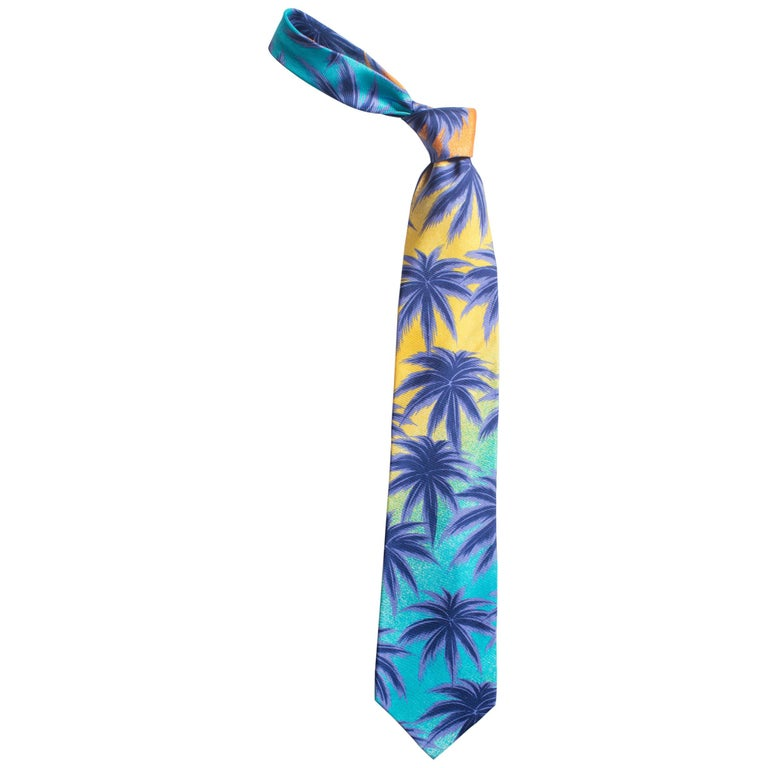 1990s Gianni Versace Miami South Beach Collection Palm Sunset Mens Silk Tie For Sale