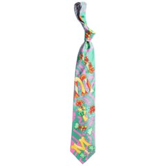 1990s Gianni Versace Floral Miami South Beach Collection Mens Silk Tie