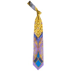 Early 1990s Gianni Versace Baroque Gold Medusa Silk Tie