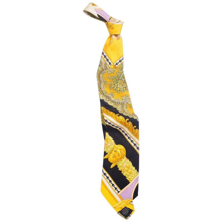 1990s Gianni Versace Gold, Yellow & Purple Baroque Men's Silk Tie For Sale