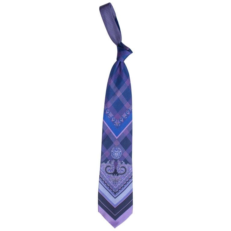 1990s Gianni Versace Blue & Purple Medusa Logo Men's Silk Tie For Sale