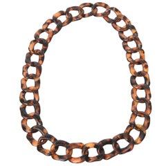 Tortoise Lucite Loop Necklace
