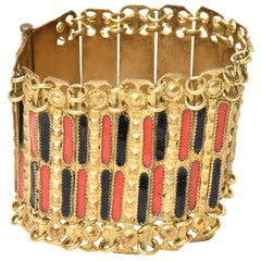 Grecian Vintage Gold Plated Metal and Enamel Cuff Bracelet