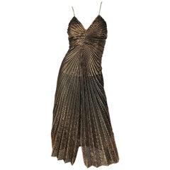 Amazing 1970s Gold Bronze Slinky Pleated Vintage 70s Disco Studio 54 Dress