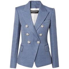 Balmain Cornflower Blue Tweed Blazer with Silver Lion Buttons - 12