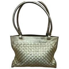 1990s Bottega Veneta Metallic Gold Intrecciato Woven Napa Leather Handbag