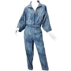 Avant Garde 1980s Acid Wash Lightweight Denim Blue Jean Vintage 80s Jumpsuit