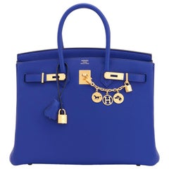 Hermes Birkin 35cm Blue Electric Gold Hardware Bag