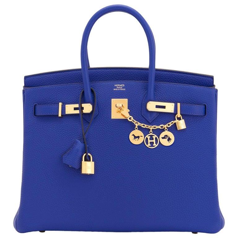 Hermes Birkin 35cm Blue Electric Gold Hardware Bag