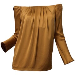 Beautiful Vintage Alberta Ferretti Liquid Silk Bronze Rust Off Shoulder Blouse