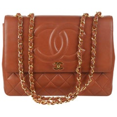 Chanel Vintage Brown Quilted Leather Jumbo Shoulder Bag with CC Logo