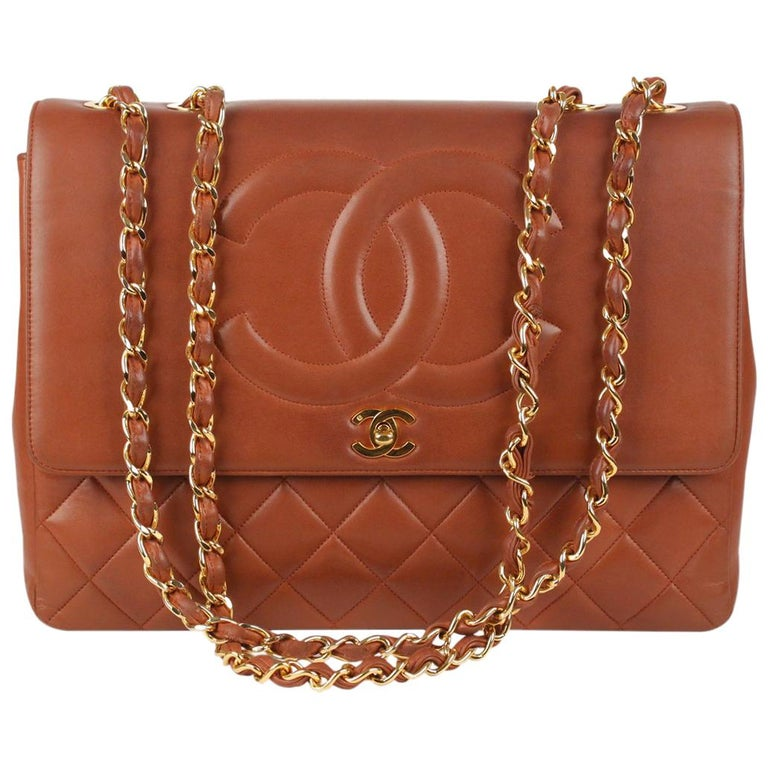778b85f957c1 Chanel Vintage Brown Quilted Leather Jumbo Shoulder Bag with CC Logo For  Sale