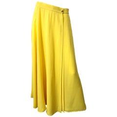 1990s Escada Margaretha Ley Sz 40 Canary Yellow Silk Chiffon Vintage Maxi Skirt