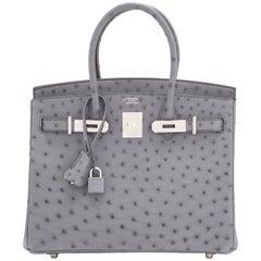 Hermes HSS Horseshoe Gris Agate Perle Ostrich Grey C Stamp Birkin 30 Bag, 2018