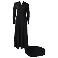 Vintage Embroidered Hand-Made 1940's Black Gown with Long Train
