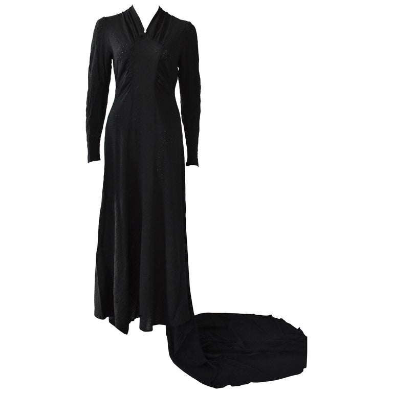 Vintage Embroidered Hand Made 1940s Black Gown With Long Train For