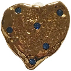 Yves Saint Laurent Vintage Gold Heart with Blue Crystals Pin Brooch