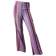 Fabulous 1970s High Waisted Pink + Blue Striped Vintage 70s Bell Bottoms Pants