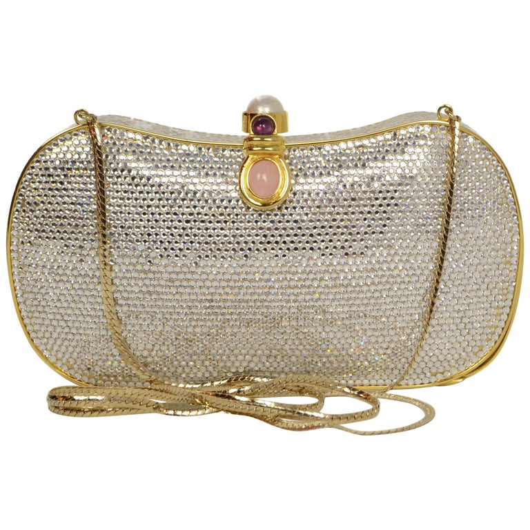 Judith Leiber Clear Swarovski and Faux Pearl Minaudiere Evening Bag / Clutch
