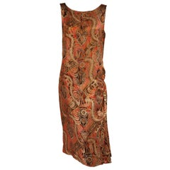 1920's Gold Lame Paisley Patterned Evening Dress