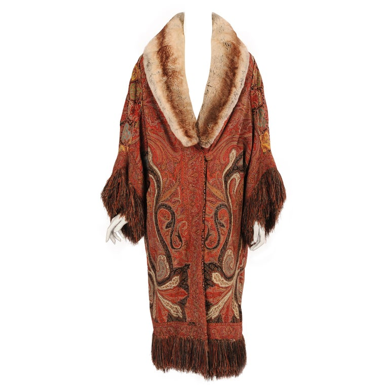 1920's Coat Made from a Handmade Antique Kashmiri Paisley Shawl For Sale