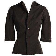 Yohji Yamamoto Schwarze Wolle Taillierte Jacke oder Top