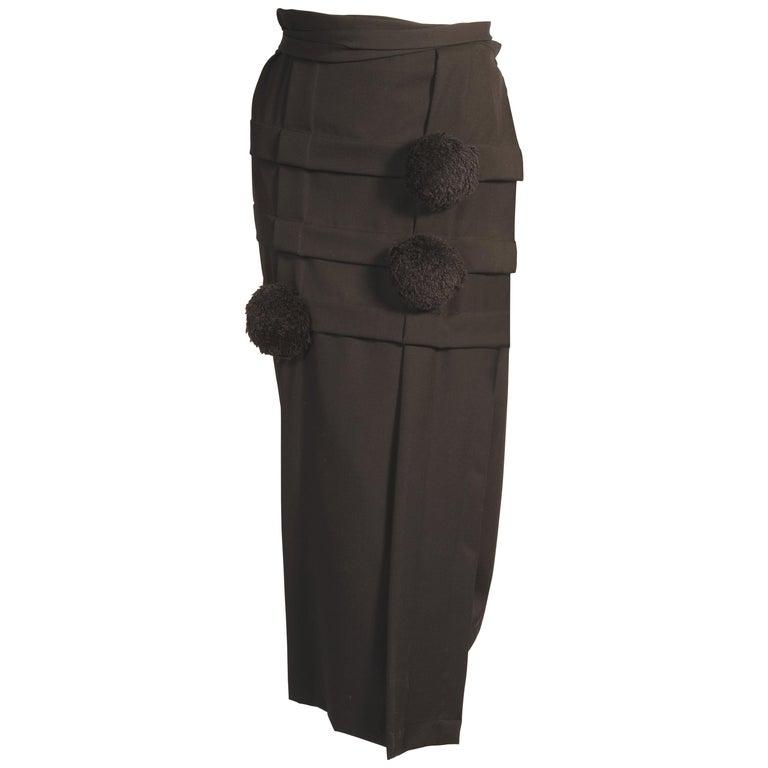 8a217dc481f235 Comme des Garcons Black Wool Wrap Skirt with Black PomPom Appliques For Sale
