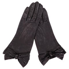 Carlos Falchi Black Leather Gloves with Bow Decoration Never Worn
