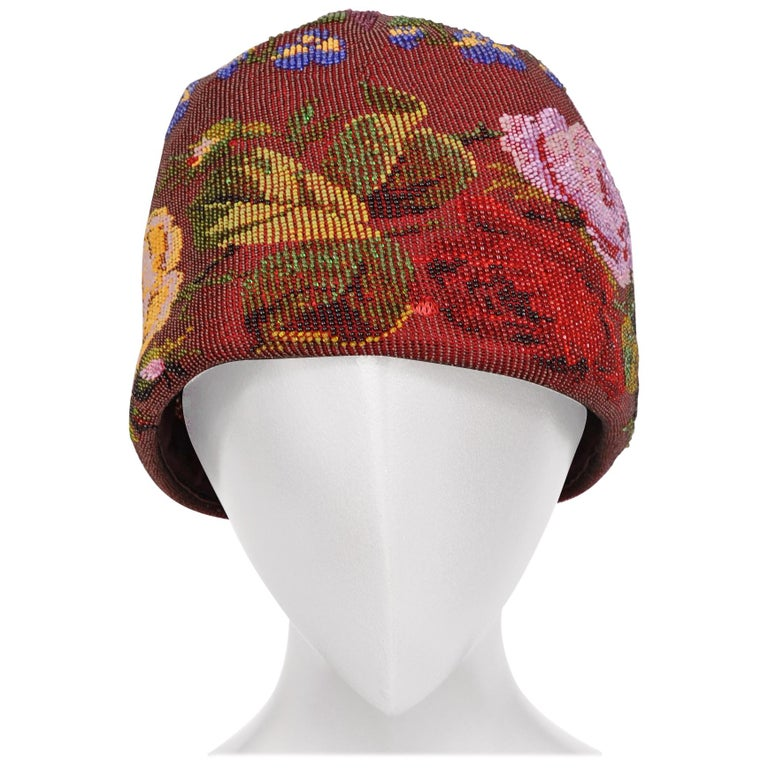 Victorian Micro Beaded Burgundy Hat with Colorful Floral Decoration